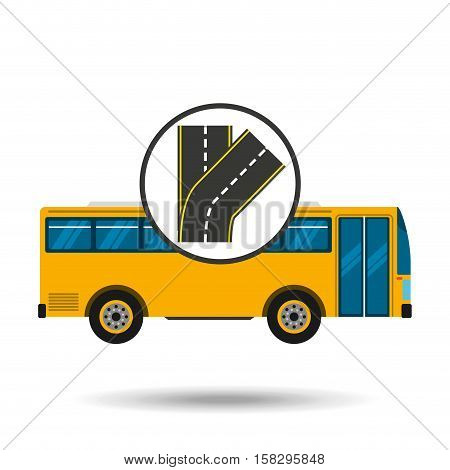 fork road bus transport public vector illustration eps 10