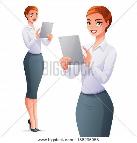 Beautiful elegant young business woman using a touch pad tablet portable computer. Cartoon style vector illustration isolated on white background.