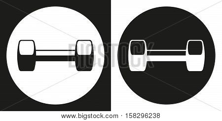 Dumbell icon. Silhouette dumbell on a black and white background. Sports Equipment. Vector Illustration