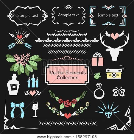 Valentine and Wedding vector elements collection set.