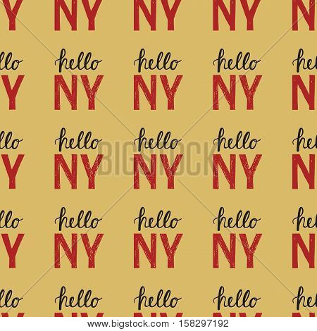 Seamless Pattern With Vintage Quote Hello Ny New York