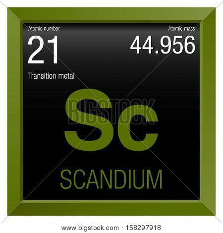 Scandium symbol. Element number 21 of the Periodic Table of the Elements - Chemistry - Green square frame with black background
