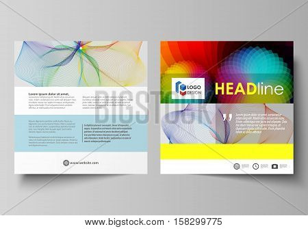 Business templates for square design brochure, magazine, flyer, booklet or annual report. Leaflet cover, abstract flat layout, easy editable vector. Colorful design with overlapping geometric shapes and waves forming abstract beautiful background.