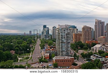 Toronto Canada. Skyline of the city. Summer cloudy day evening, urban view