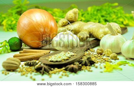 seasoning basic material traditional Indonesian cuisine and asia