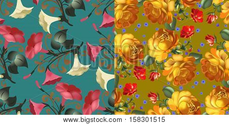Vector illustration Set of Seamless pattern in russian traditional style on green and yellow background. Russian traditional ornament.
