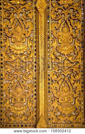 Window Sculpture with Lao Design in Haw Pra Keo Temple Vientiane Laos