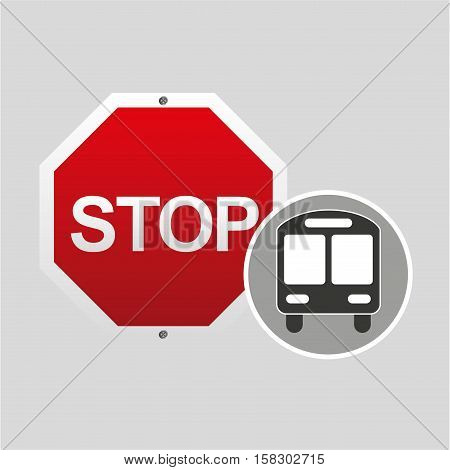 school bus front stop road sign design vector illustration eps 10