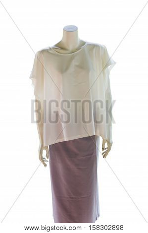 Thai dresses on mannequins. Thai design style isolate white background with clippingpath. poster