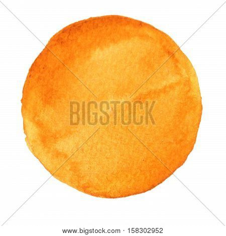 Watercolor yellow hand painted circle. Beautiful watercolor design elements. Watercolor background. Spisy mustard color trend