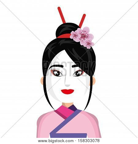 beautiful geisha character icon vector illustration design