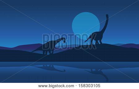 Silhouette of brachiosaurus on riverbank scenery vector illustration