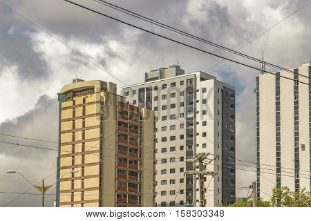 Cityscape day scene of modern apartment buildings in Natal Brazil