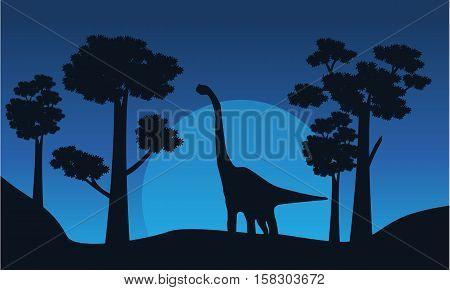 Silhouette of brachiosaurus with tree scenery vector illustration