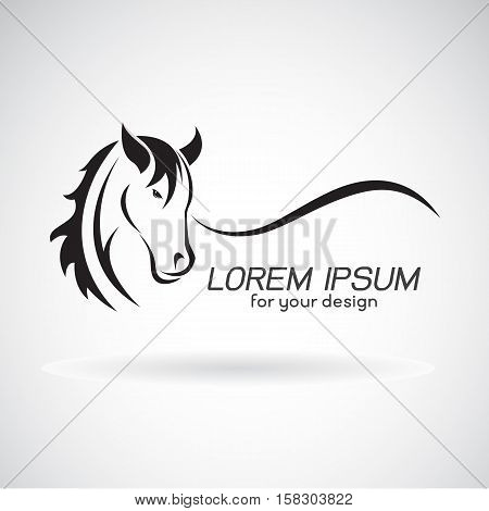 Vector image of a horse head design on white background Horse Logo. Wild Animals. Vector illustration.