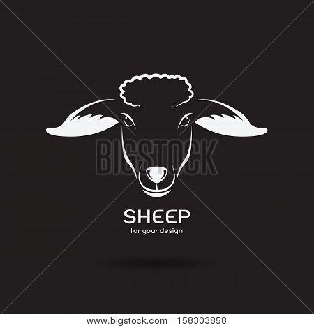 Vector image of a sheep head design on black background Vector sheep logo. Farm Animals.