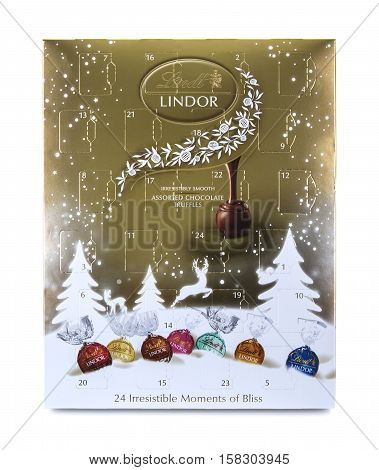 SWINDON UK - NOVEMBER 22 2016: Lindt Advent Calendar on a White Background