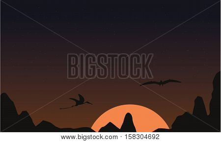 At sunset pterodactyl landscape of silhouettes vector illustration