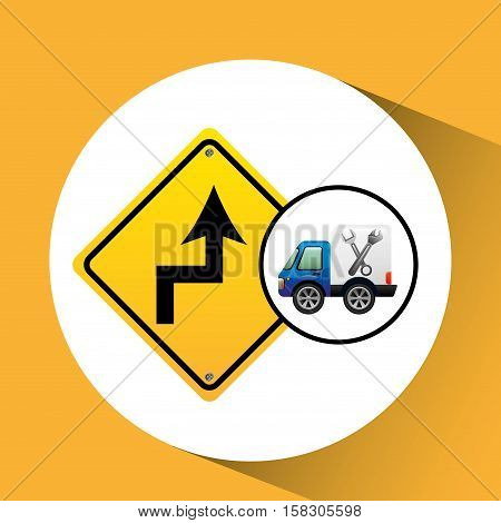 truck assitance with road sign vector illustration eps 10