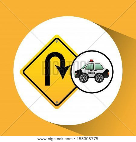 car police with u-turn road vector illustration eps 10