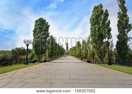 Avenue Of Lombardy Poplars. Memorial Complex Mamayev Kurgan In Volgograd