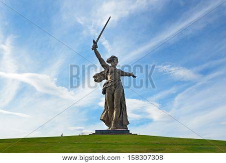 Motherland Calls Monument. Memorial Complex Mamayev Kurgan In Volgograd