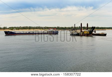 Dredging Platform And Cargo Ship