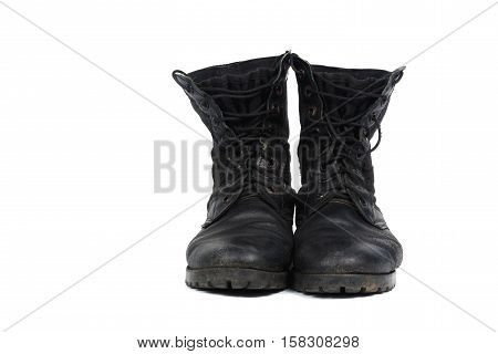 Black Combat Men Boot, Isolated On White Background