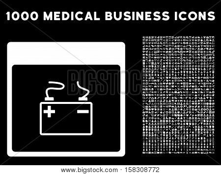 White Accumulator Calendar Page vector icon with 1000 medical business pictograms. Set style is flat symbols, white color, black background.