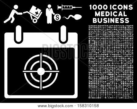 White Bullseye Calendar Day vector icon with 1000 medical business pictograms. Set style is flat symbols, white color, black background.