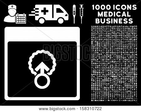White Cell Penetration Calendar Page vector icon with 1000 medical business pictograms. Set style is flat symbols, white color, black background.