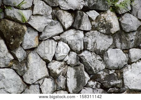 close up old dry rock wall texture