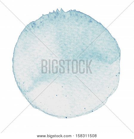 Watercolor blue hand painted circle. Beautiful watercolor design elements. Watercolor background. Abstract watercolor hand painted circle background.