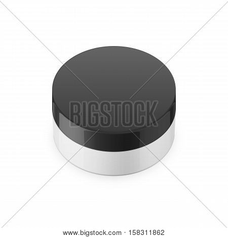 Round white glossy plastic jar with black lid for cosmetics - body cream, butter, scrub, bath salt, gel, skin care, powder. Realistic packaging mockup template. Upper view. Vector illustration.