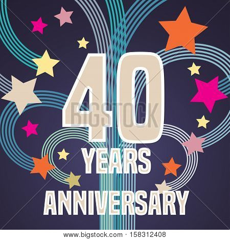 40 years anniversary vector illustration, banner, flyer, icon, symbol, sign, logo. Graphic design element with fireworks for 40th anniversary, birthday card