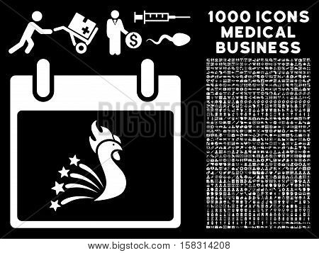 White Festive Rooster Calendar Day vector icon with 1000 medical business pictograms. Set style is flat symbols, white color, black background.