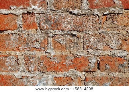 A fragment of an old brick wall masonry. Texture background