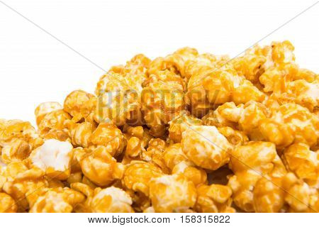 caramel popcorn food on a white background