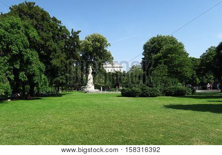 Burggarten Park at Hofburg Palace with Mozart Statue