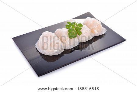shrimp steamed dimsum ( ha-kao) on black plate