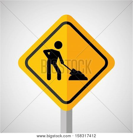 under construction road sign worker vector illustration eps 10