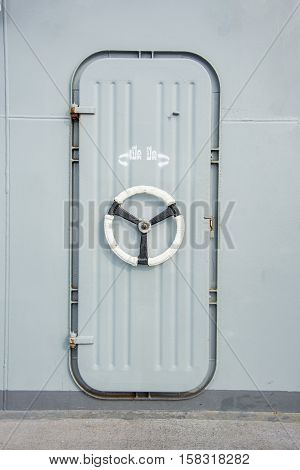 steel lock door in the battleship naval