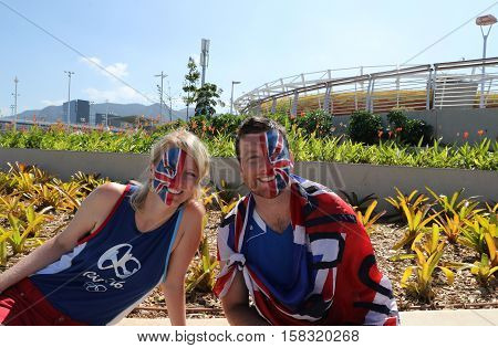RIO DE JANEIRO, BRAZIL - AUGUST 14, 2016: British fans support Olympic champion Andy Murray of Great Britain before men's singles final of the Rio 2016 Olympic Games at the Olympic Tennis Centre