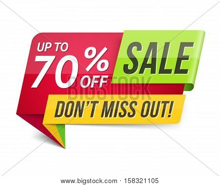 Don't miss out sale, 70% off, modern sale banner, vector eps10 illustration