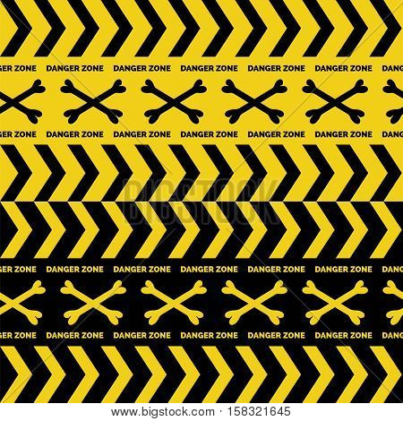 Danger tapes seamless borders with boness cross vector
