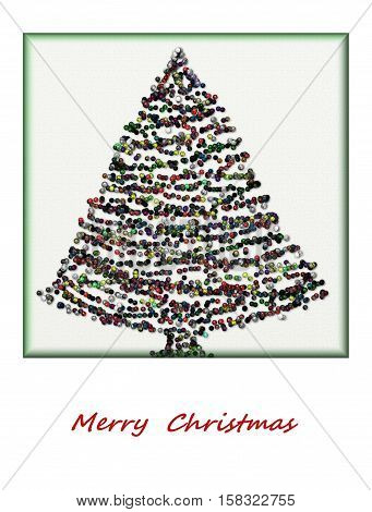 Postcard colorful abstract Christmas tree, sample for text