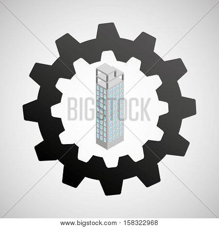 under construction gear building design vector illustration eps 10