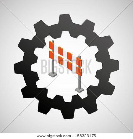 under construction gear barrier road vector illustration eps 10