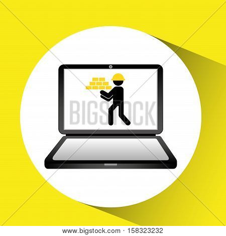 under construction web page worker brick wall vector illustration eps 10