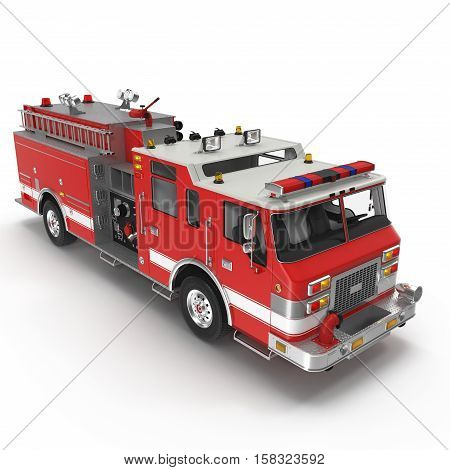 Fire Engine isolated on white background. 3D illustration